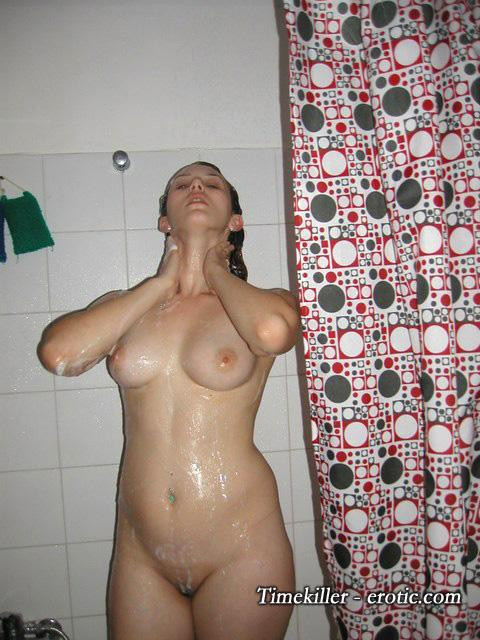 Young amateur girls take a shower  - 16