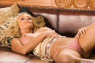 Hot blonde on the sofa