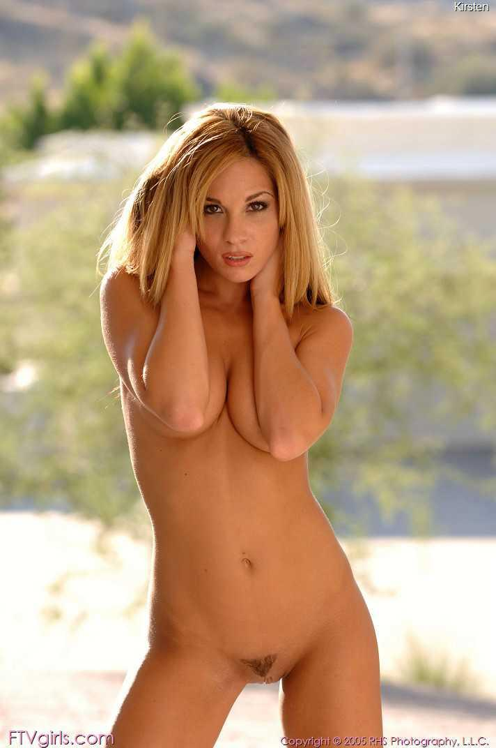 Beautiful chick posing naked outdoors - 10
