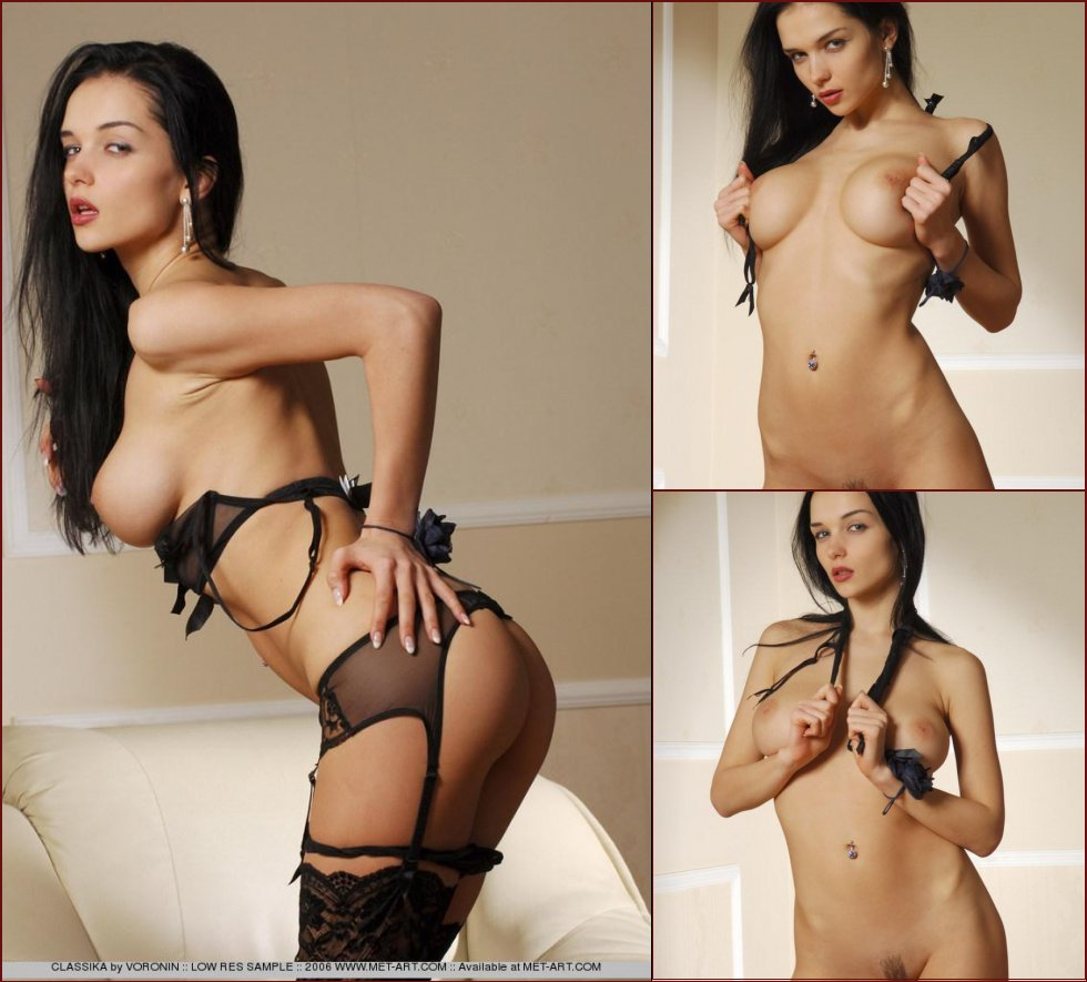 Latina chick in black lingerie - 5