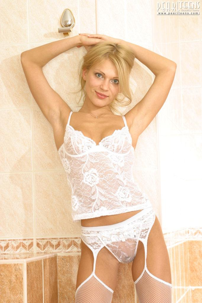 Sexy blonde in lingerie - 1