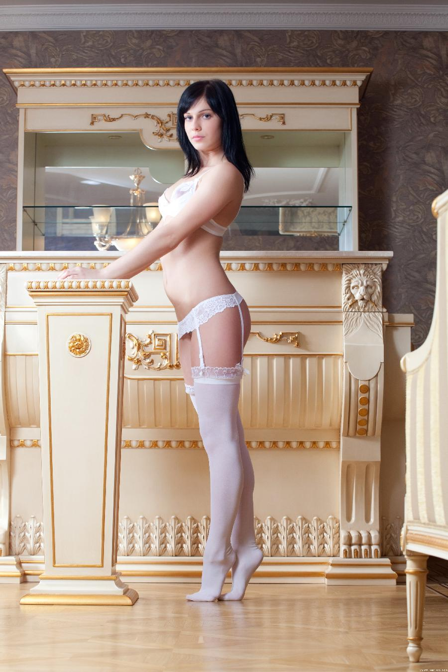 Pretty young Maura in white lingerie - 1