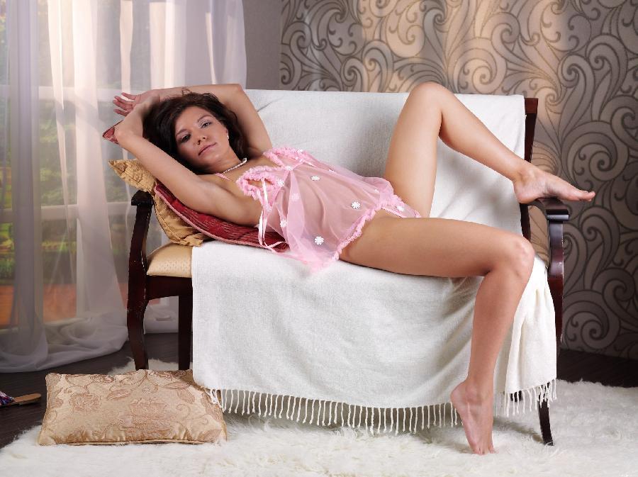 Kayla in sexy pink nightdress  - 3