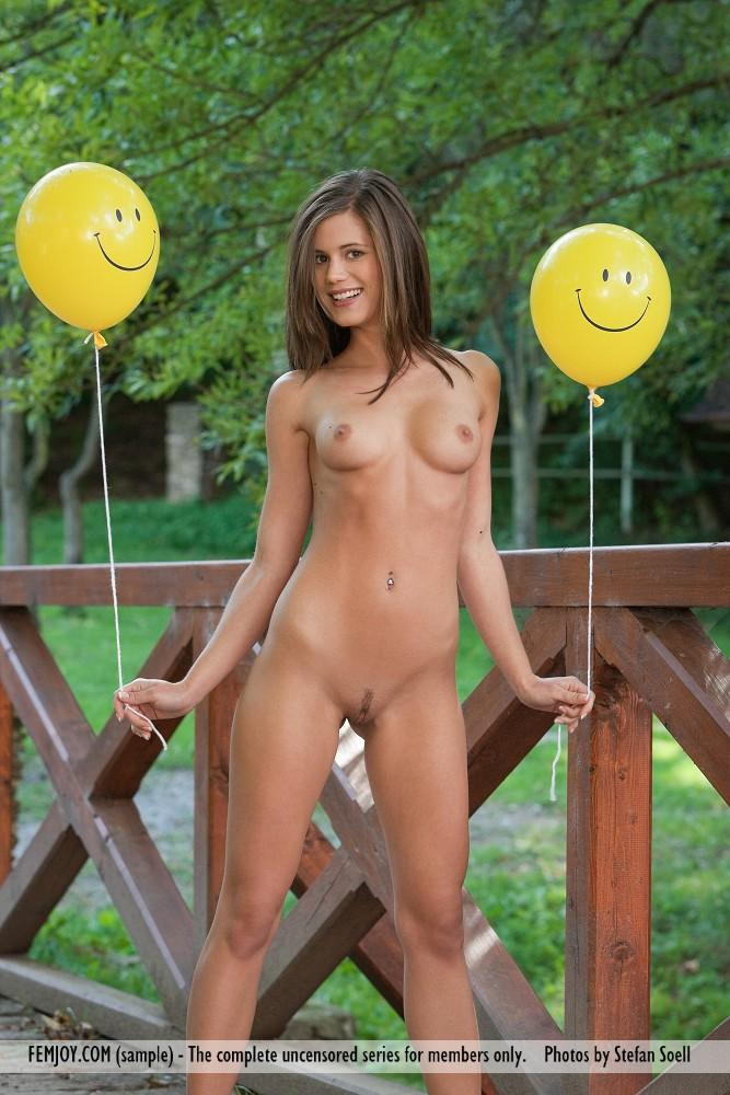 Little Caprice naked on a bridge - 1