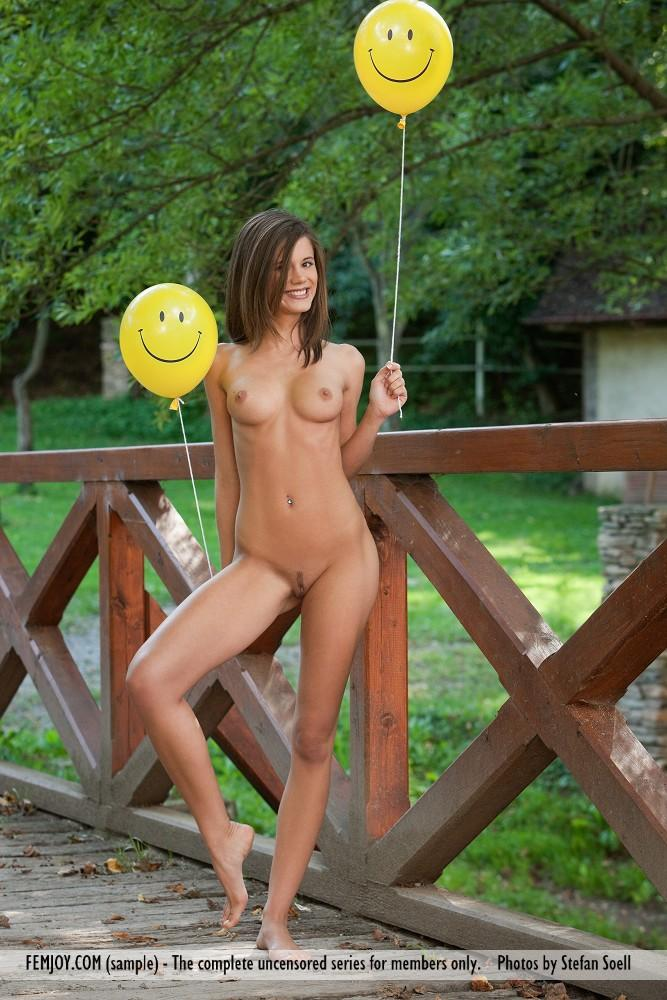 Little Caprice naked on a bridge - 3