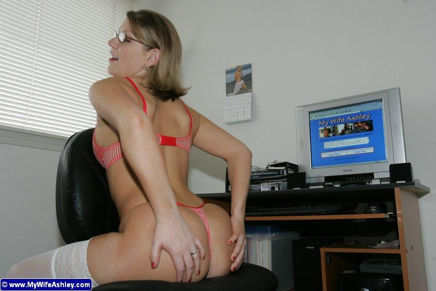Ashley getting sexy in her office - 5