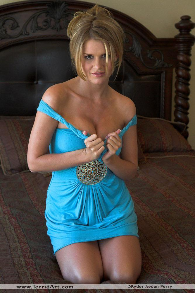 Busty Lisa Neils in blue dress - 1