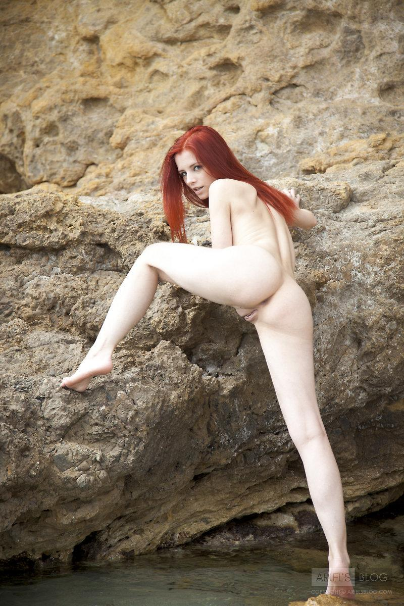 Great red head Ariel on the rock - 2