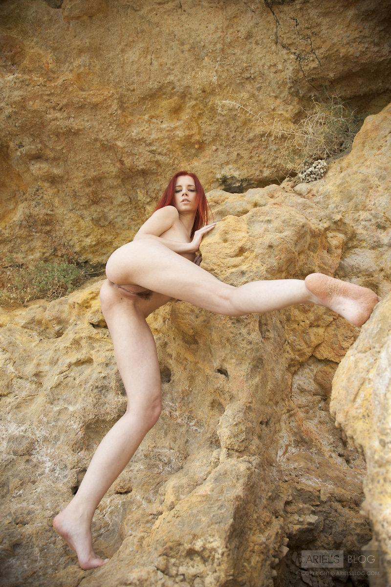 Great red head Ariel on the rock - 8