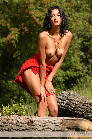 Sexy girl strips red dress - Vika AD