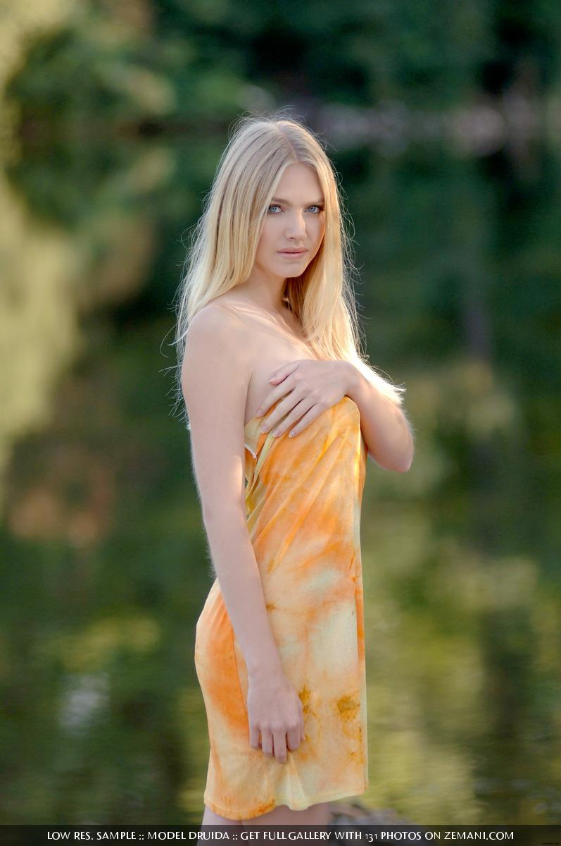Shy and innocent blonde takes her dress off in the forest - Druida - 13