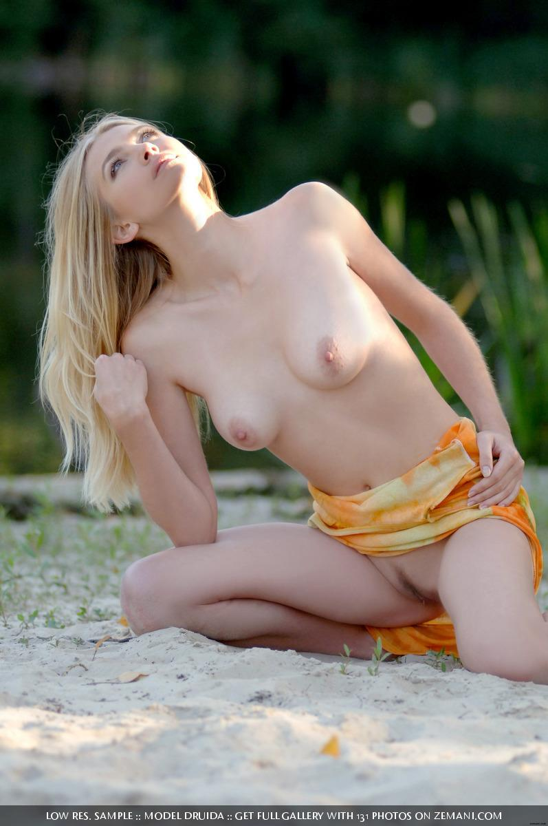 Shy and innocent blonde takes her dress off in the forest - Druida - 9