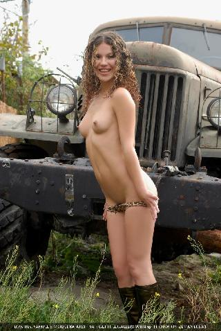 Hot and naked babe on the top of old truck - Katarzhina