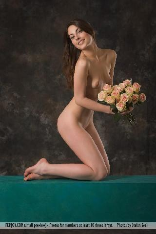 Lorena Garcia naked with flowers