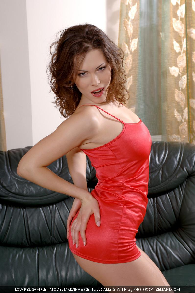 Busty chick in red lingerie on a leather couch - Malvina - 1