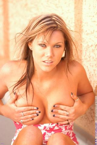 Busty Kay with percing in nipples