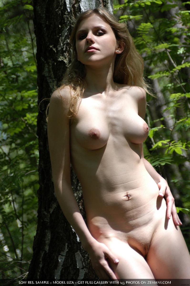 Naked Liza using again survival guide in the forest - 14