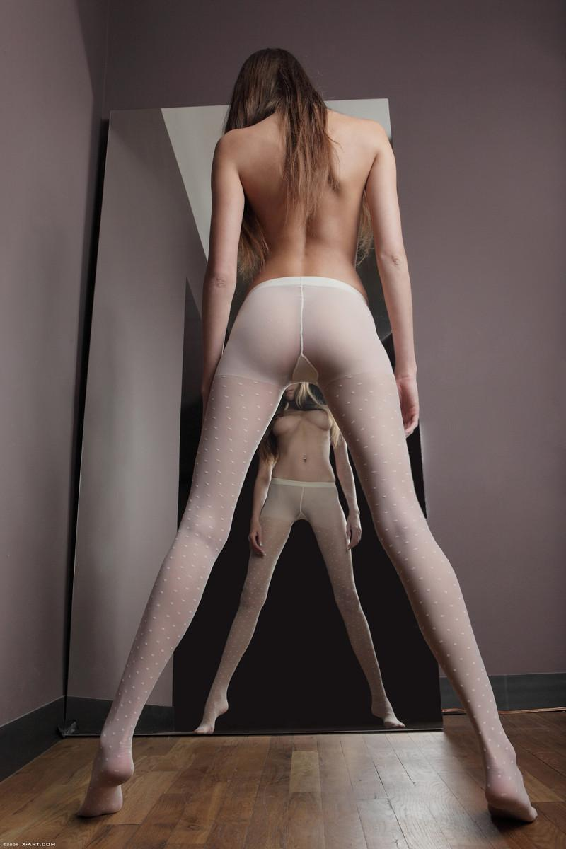 White nylon stockings