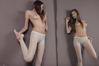 Silvie Delux in white pantyhose