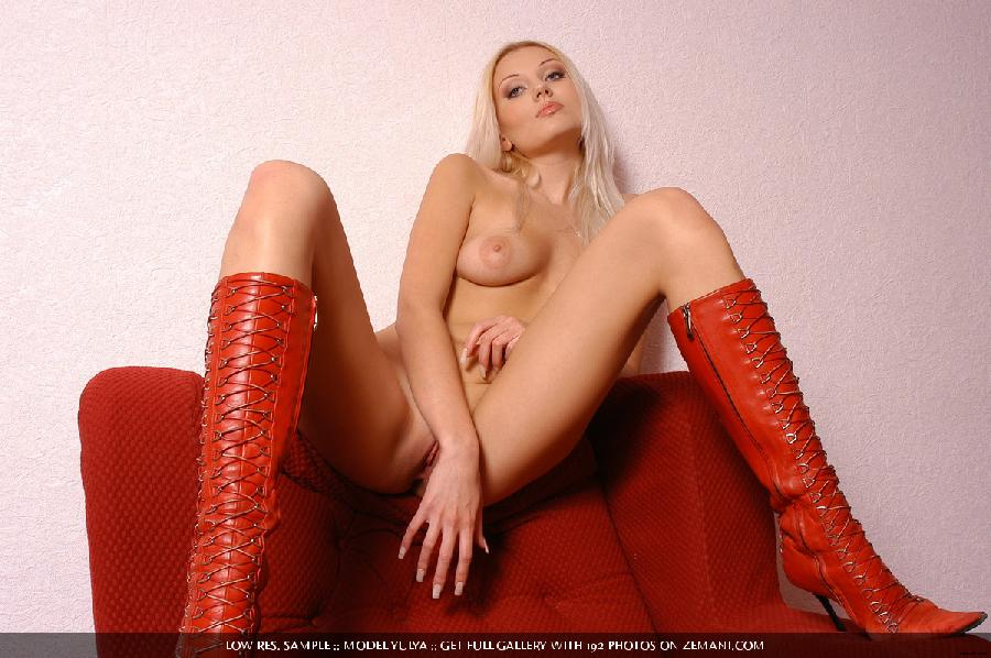 Sexy naked blonde in red boots have fun on a couch - Yulya - 14