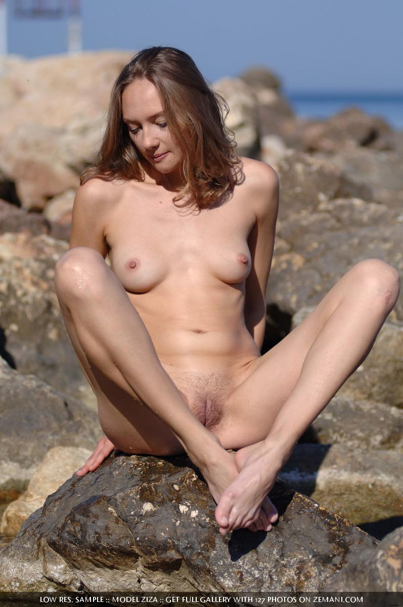 Pretty dark blonde takes her cloth off in the water and remains naked - Ziza - 3