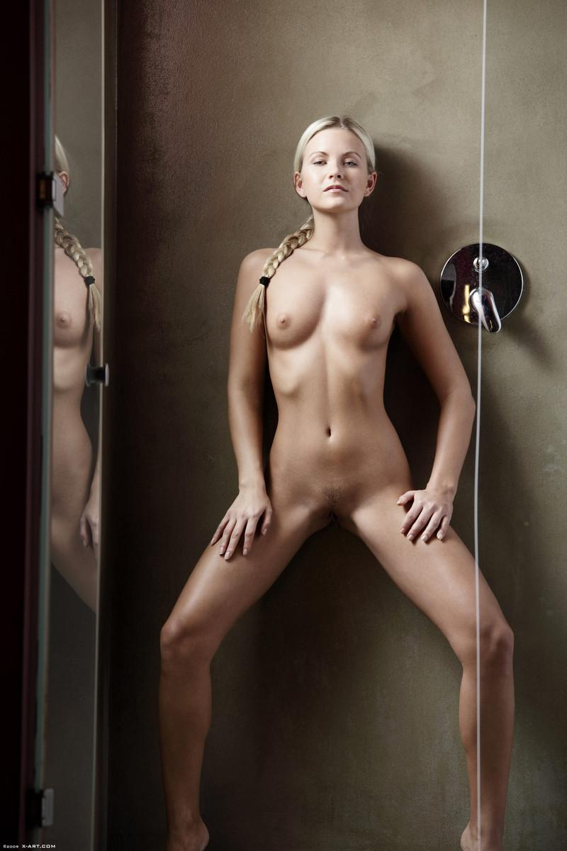 Teen blonde is posing in shower - Willow - 9