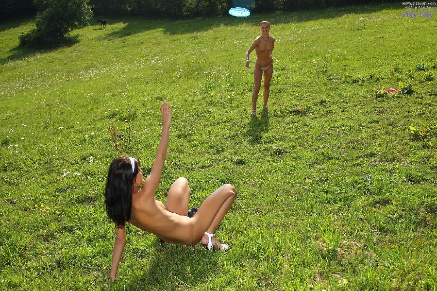 Naked girls are grazing outdoor - Viky Day - 2