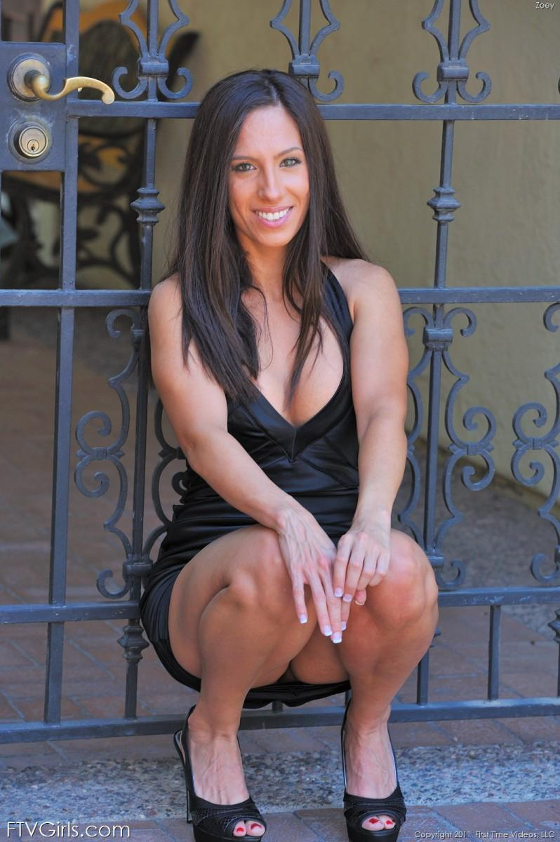Hot brunette completely naked outside - Zoey - 3