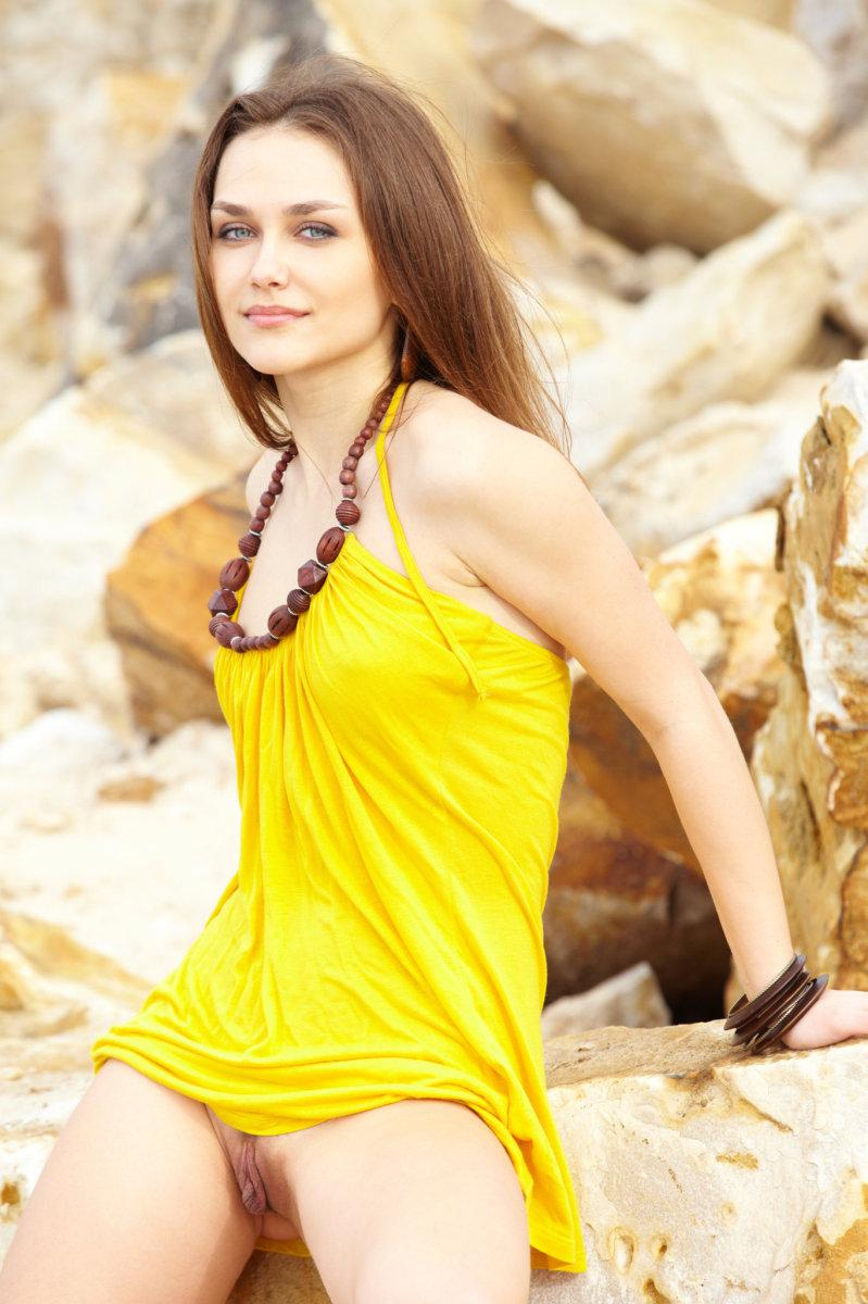 Seductive girl takes off her sexy yellow dress - Zlatka A - 1