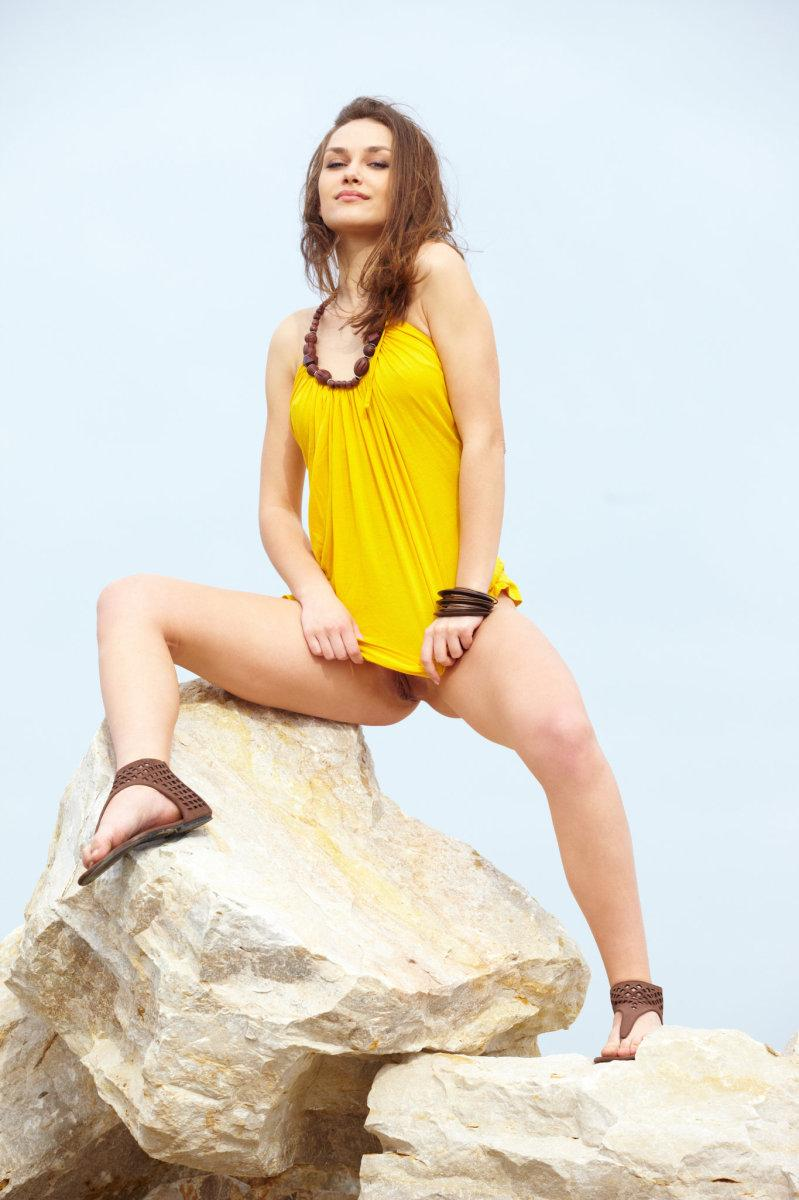 Seductive girl takes off her sexy yellow dress - Zlatka A - 4