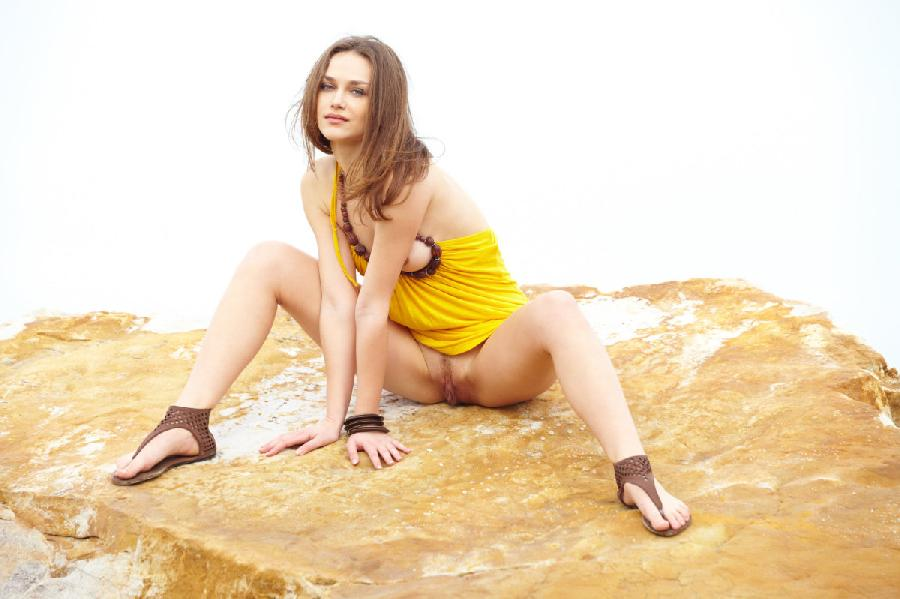 Seductive girl takes off her sexy yellow dress - Zlatka A - 7