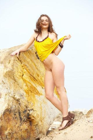 Seductive girl takes off her sexy yellow dress - Zlatka A