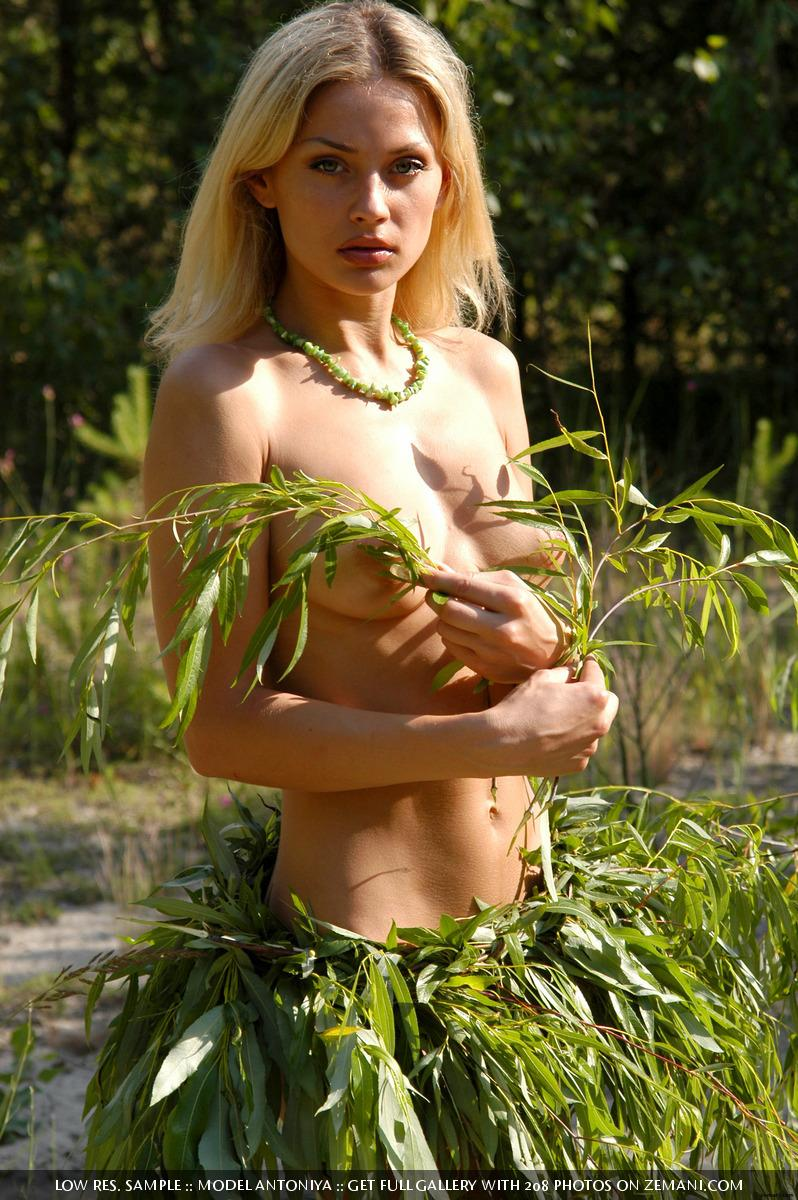 Hot and young blonde gets naked in the forest - Antoniya  - 1