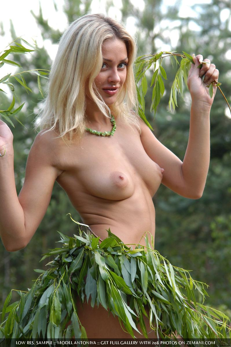 Hot and young blonde gets naked in the forest - Antoniya  - 5