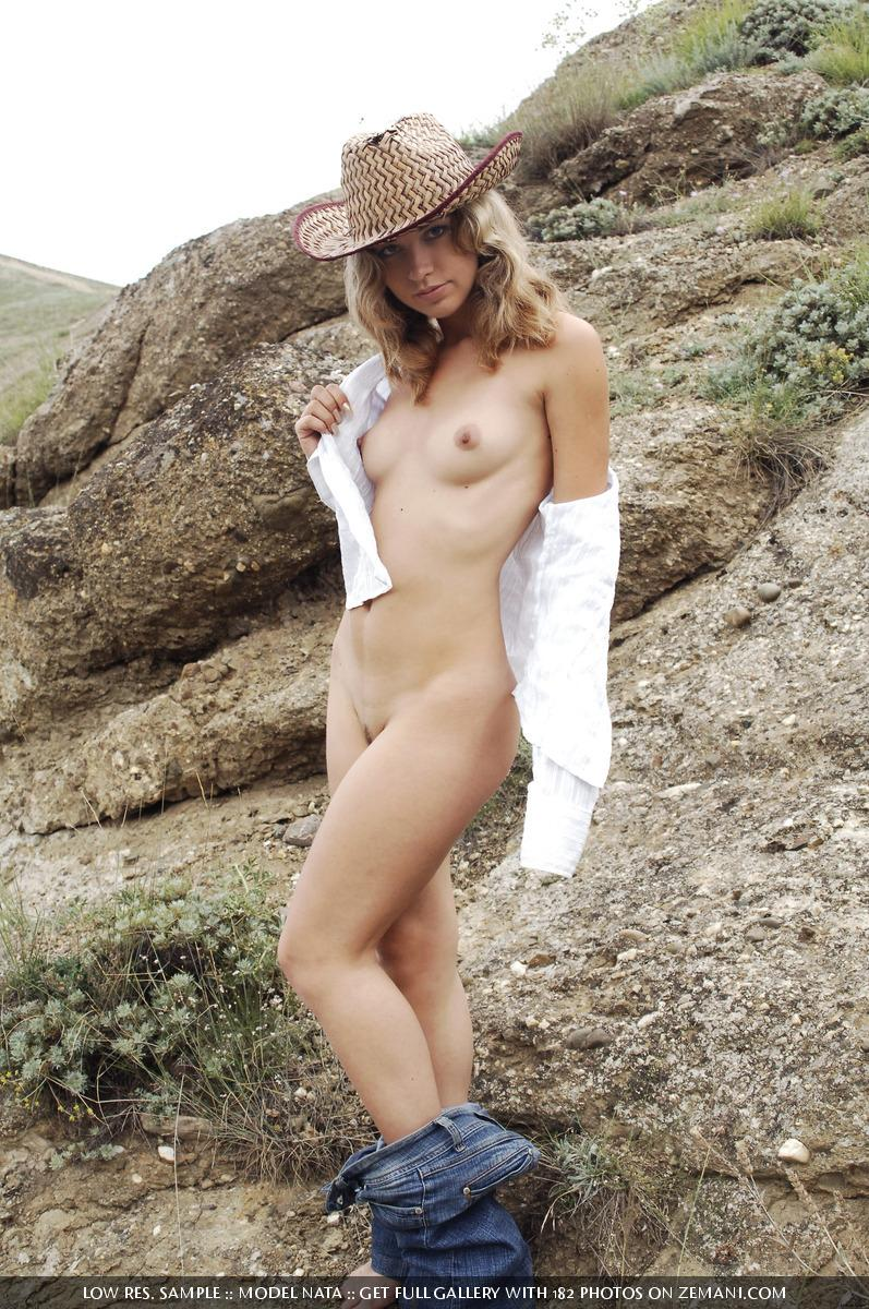 American cowboy girl naked in field - Nata - 5