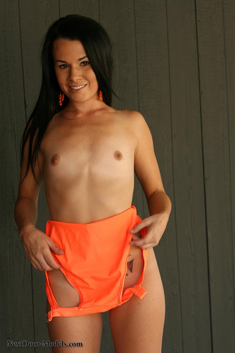 Kristina is looking hot in her orange one piece swimsuit - 6