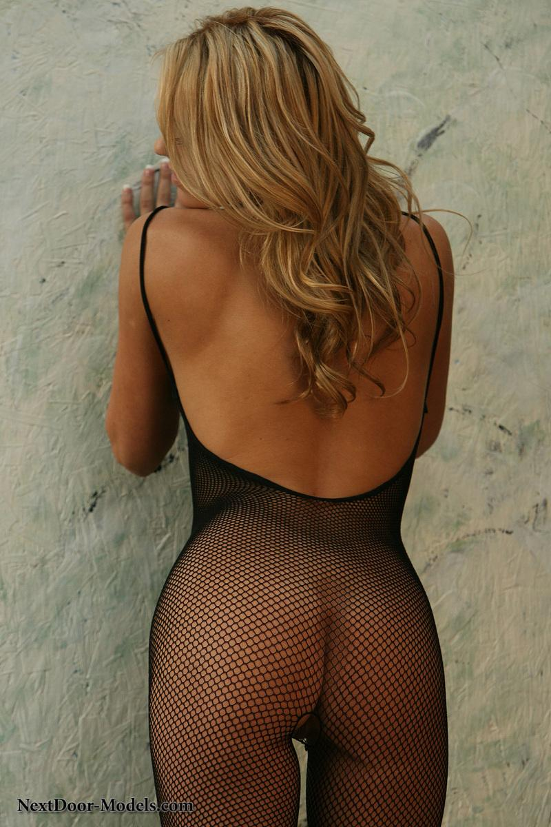 Nicole is smoking-hot in a black fishnet mesh bodysuit - 2