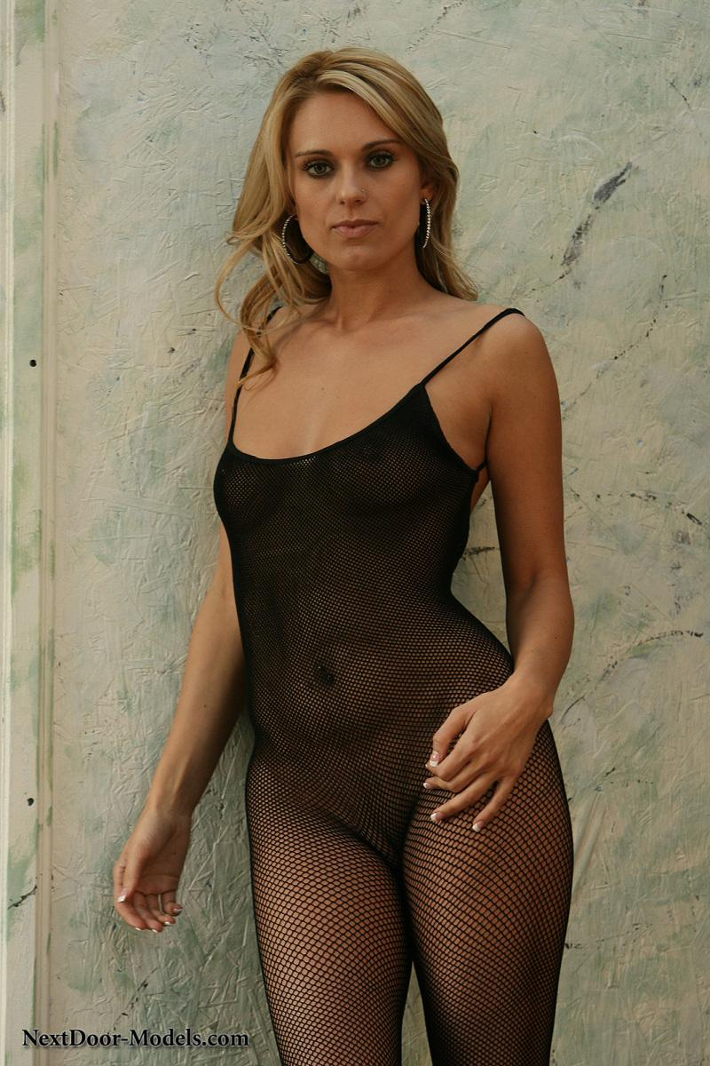 Nicole is smoking-hot in a black fishnet mesh bodysuit - 3