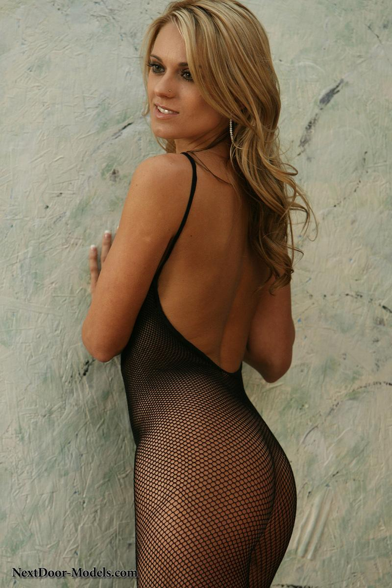 Nicole is smoking-hot in a black fishnet mesh bodysuit - 4