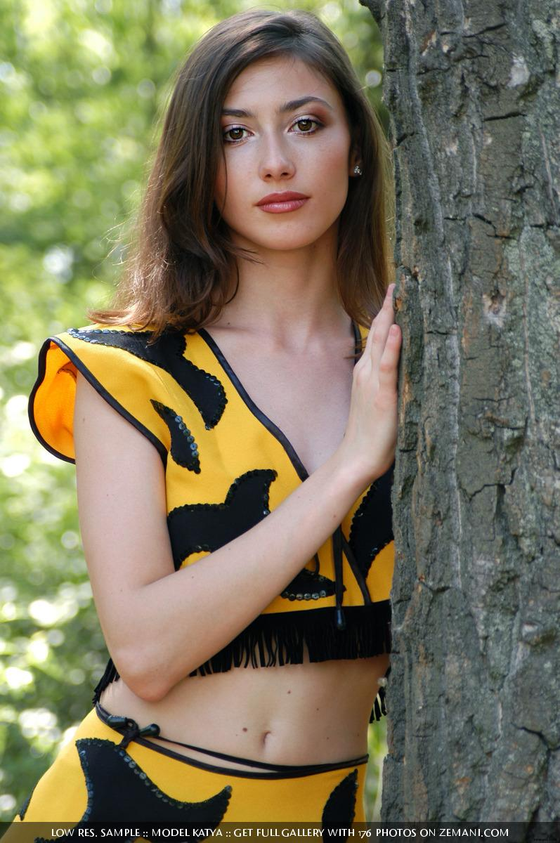 Little bee takes her cloth off in the forest - Katya - 1