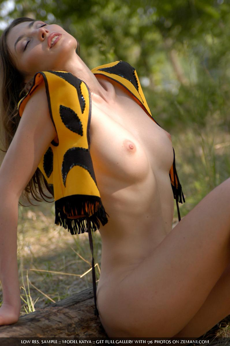 Little bee takes her cloth off in the forest - Katya - 14