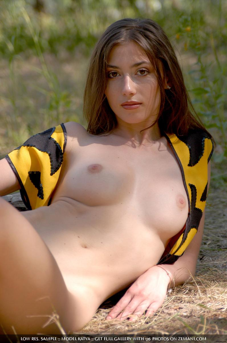 Little bee takes her cloth off in the forest - Katya - 15