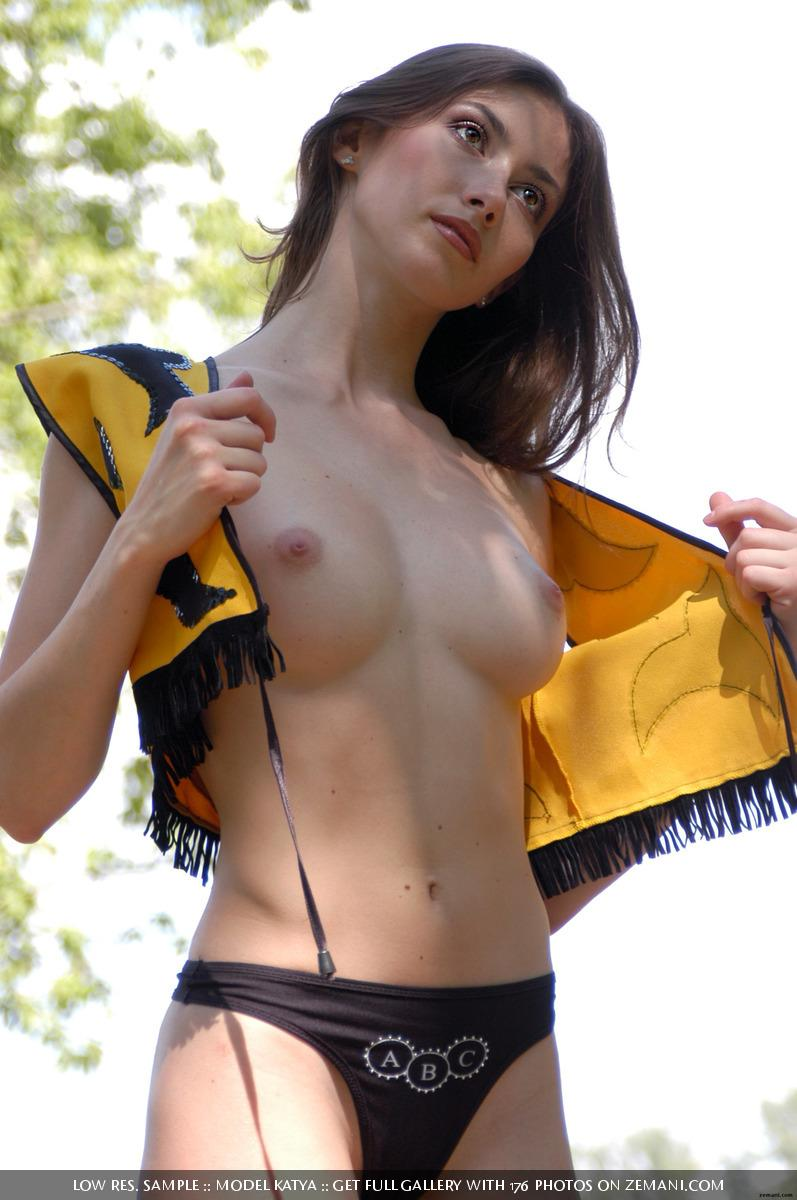 Little bee takes her cloth off in the forest - Katya - 2
