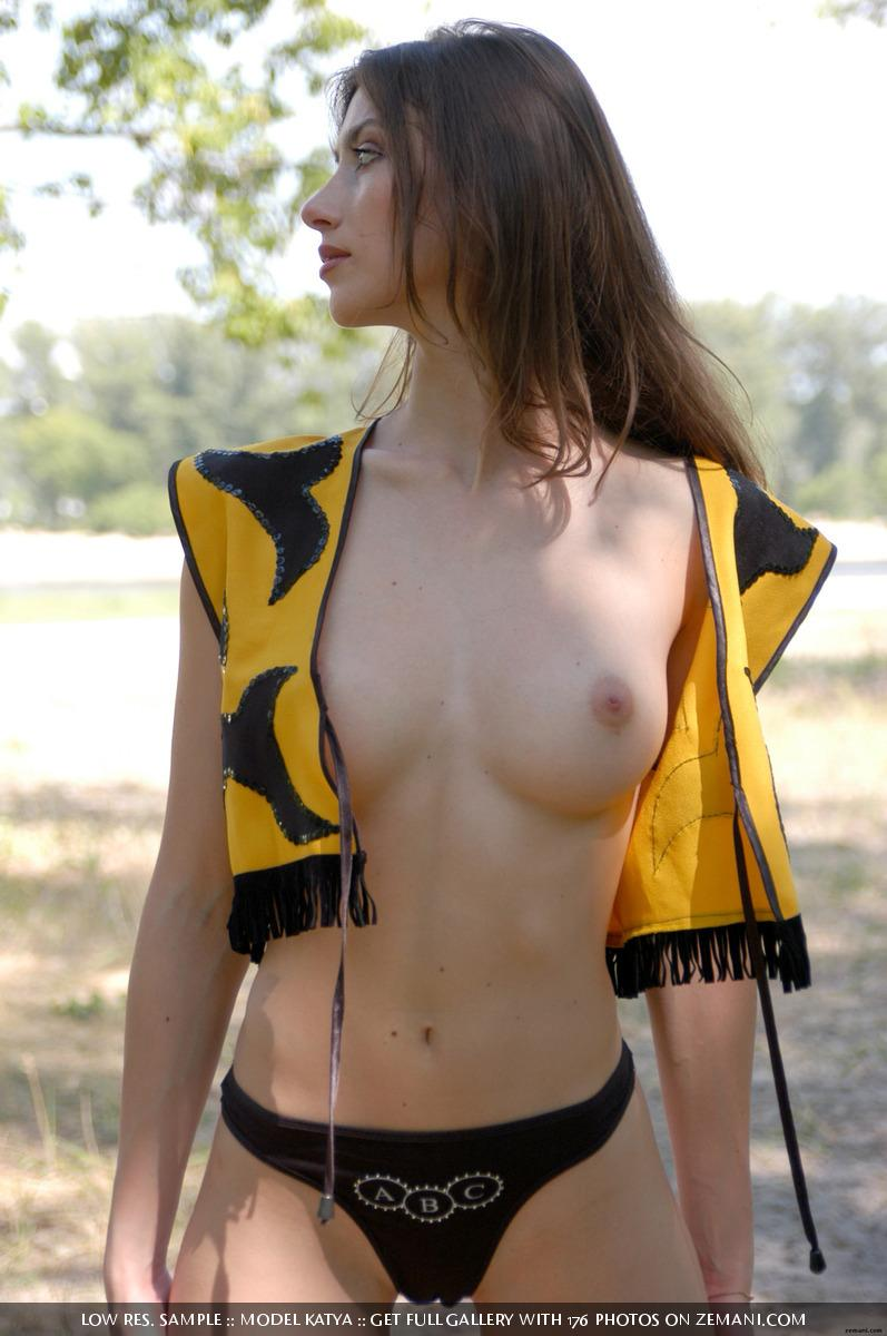 Little bee takes her cloth off in the forest - Katya - 3