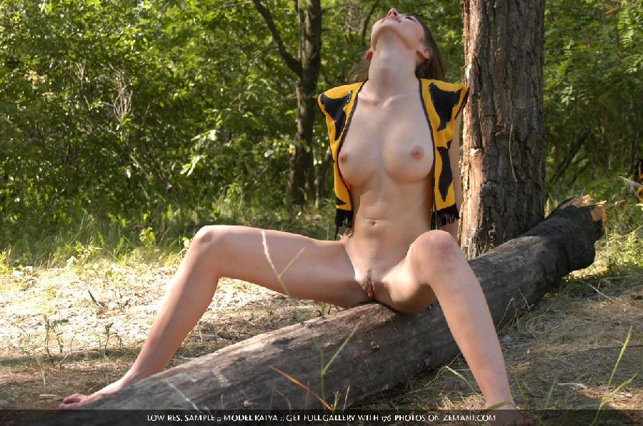 Little bee takes her cloth off in the forest - Katya - 7