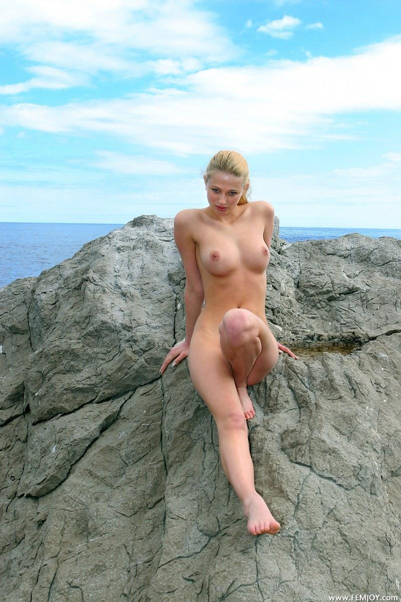 Beauty blonde topless on the beach 10