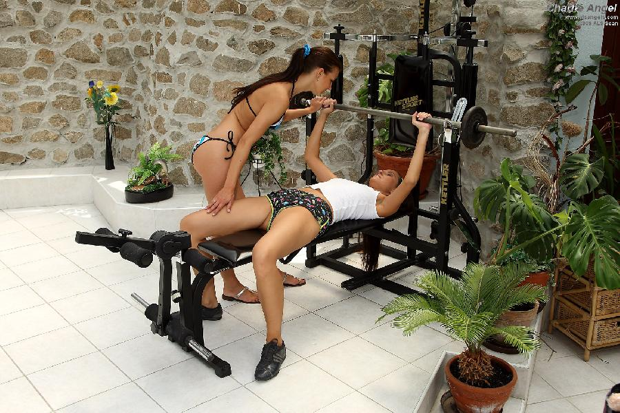 Charlie Angel with friend on a gym - 1