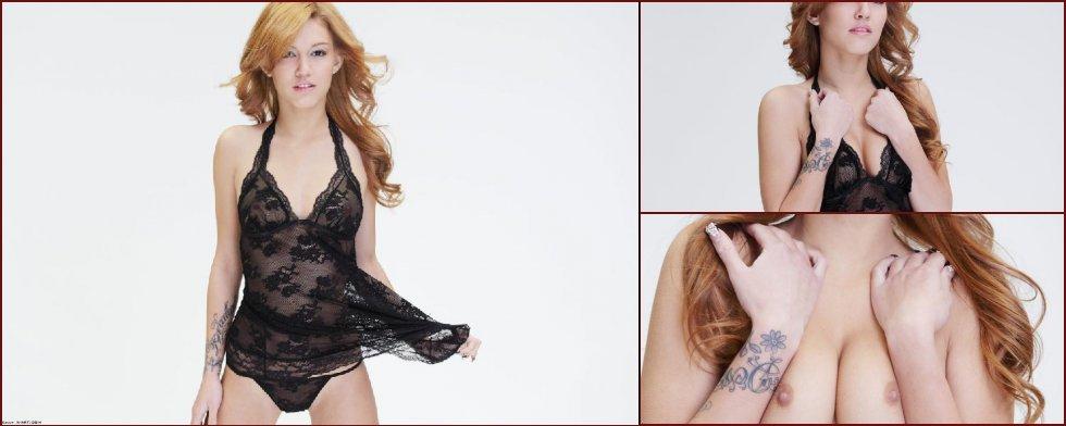 Sensual redhead strips off her black nightgown - Kato - 34