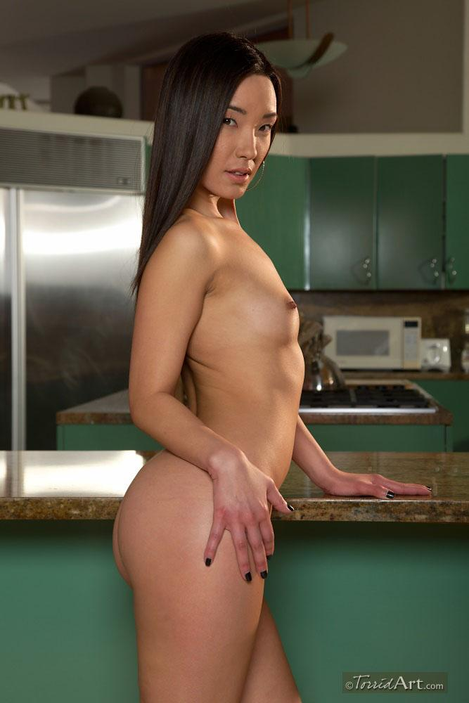Long-haired Asian is stripping in a kitchen - Miko Sinz - 16