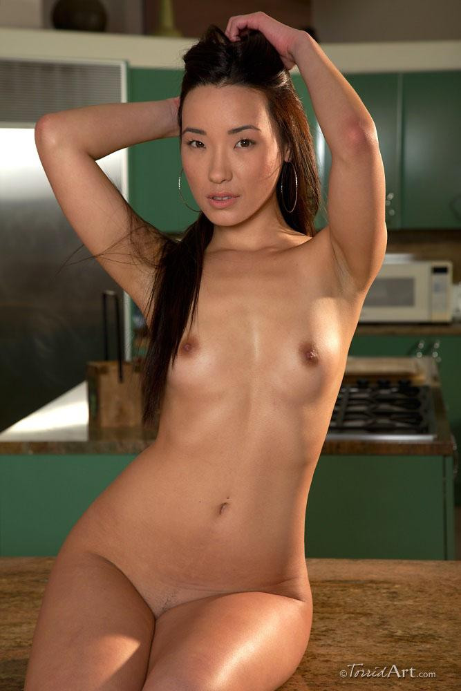 Long-haired Asian is stripping in a kitchen - Miko Sinz - 17